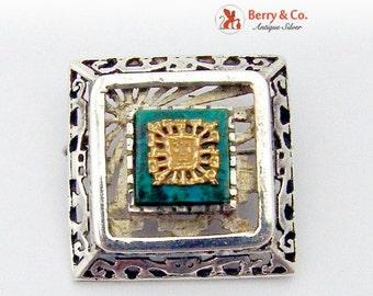 SaLe! sALe! Aztec Style Openwork Brooch Sterling Silver Azul Malachite 18K Gold