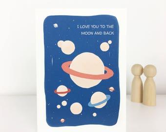 illustrated postcard planets love