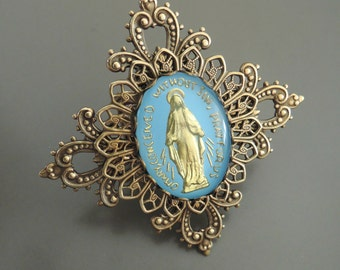 Vintage Ring - Statement Ring - Vintage Ring - Virgin Mary Jewelry - Blue Ring - Catholic Jewelry - Brass Ring - handmade jewelry