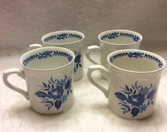 J and G Meakin England blue floral porcelain cearmic coffee cups.