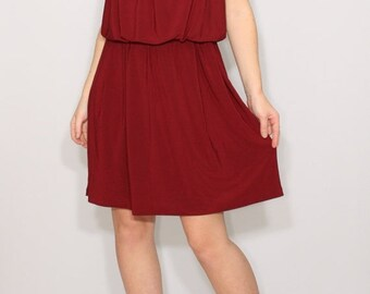 SALE Burgundy bridesmaid dress Wine red dress Short dress Spaghetti strap dress