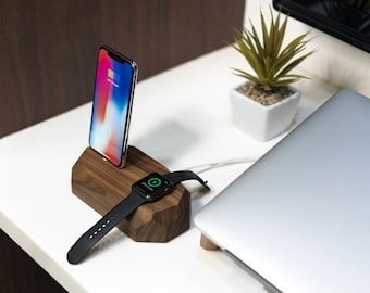 Mens gift ideas, for-man, tech gift for him, iphone iwatch stand, apple watch dock, iphone dock, iphone charging dock, iphone apple watch