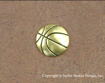 Basketball Jewelry Scrapbooking Charm Finding in Antique Gold Plate (item 1524 AG) - 6 Pieces