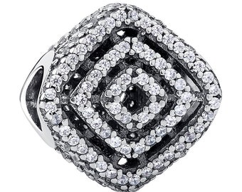 925 Sterling Silver Geometric Lines Charms Fit Pandora bracelet