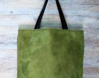 Fabric bag, handmade bag, green cloth bag, shoulder bag, woman bag, large bag, microfiber bag, day bag