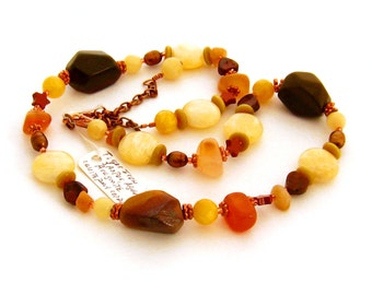 Brown Stone Necklace, Earthtone Jewelry, Mixed Gemstone Beaded Necklace, Unique Stone Jewelry,  Earth Tones