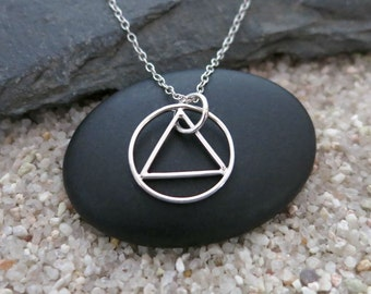 Triangle Circle Necklace, Sterling Silver Geometric Charm, Geometric Jewelry