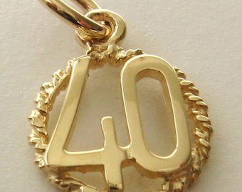 Genuine SOLID 9ct YELLOW GOLD 40 th birthday anniversary charm pendant