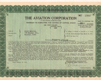 The Aviation Corporation Stock Certificate, 1941