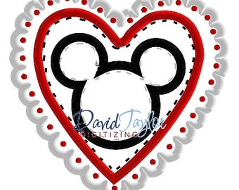 Mickey Head - Valentine's Day - Embroidery Machine Design - Applique - Instant Download - David Taylor Digitizing