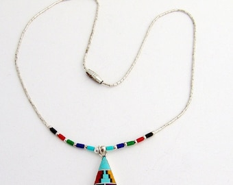 SaLe! sALe! Mosaic Inlay Necklace Pendant Sterling Silver