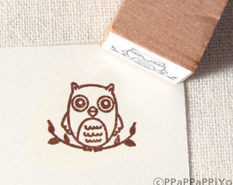 small Owl sits on the branch Rubber Stamp