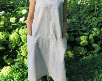 Linen japanese Apron in 12 colors/ Linen Square-Cross Apron/ No-ties Apron /  Linen Apron/ Linen pinafore