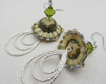 Lampwork Sea Ruffle Earrings Shades of Cream Blues and Greens Earth Tones Glass Bead Earrings Dangle Drop Earrings SRAJD Mothers Day Gift