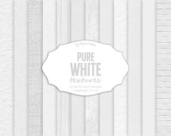 Pure White Textures Digital Paper, white wood, leather, burlap, brick, canvas, plaster, white backgrounds, scrapbook papers