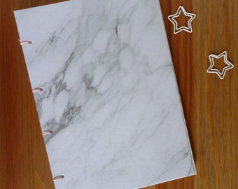A5 notebook, marble, hand bound notebook, blank book, bullet journal, journal, grey and pink, grey marble, option to personalise