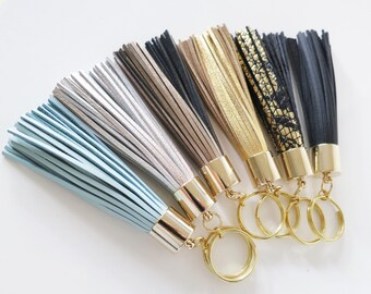 Leather Tassel Key Ring,Tassel Fringe Key Chain,Tassel Key Chain,Gold Key Ring,Gift idea,Mint Gift Blue Gold Champagne Black Bag accessory