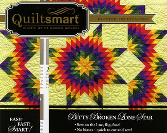 Quiltsmart Bitty Broken Lone Star Snuggler Pack - Broken Lone Star Quilt Pattern - Printed Fusible Interfacing - QS 15001