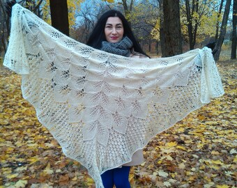 White knitted shawl, Knitted shawl mohair, knitted accessory, Wedding shawl,  wool Wrap, knit scarf, Knitted wool Shawl Wrap, evening wraps.