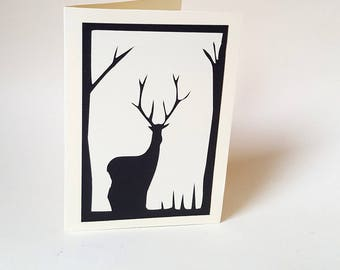 """The card """"The big deer"""" with its envelope"""