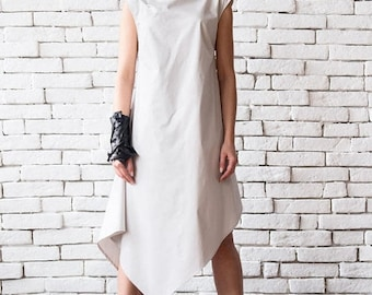 SALE Off White Asymmetric Loose Summer Dress/Sleeveless Maxi Dress/Summer Casual Dress/Oversize Tunic Dress/Long Maxi Top/Plus Size Tunic To