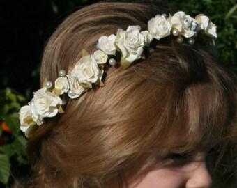 Ivory Cream Rose and Pearl Wedding Head Garland Flower Crown