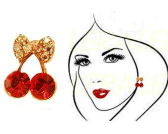 Stud Earrings two red cherries, gold color pin, goldplated, flash water clear leaves Crystals, rhinestones, teens, adult wome, party, beach