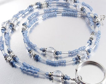 Petite Faceted Blue Crystal Glass Beaded ID Lanyard, Badge Holder, ID Badge Necklace