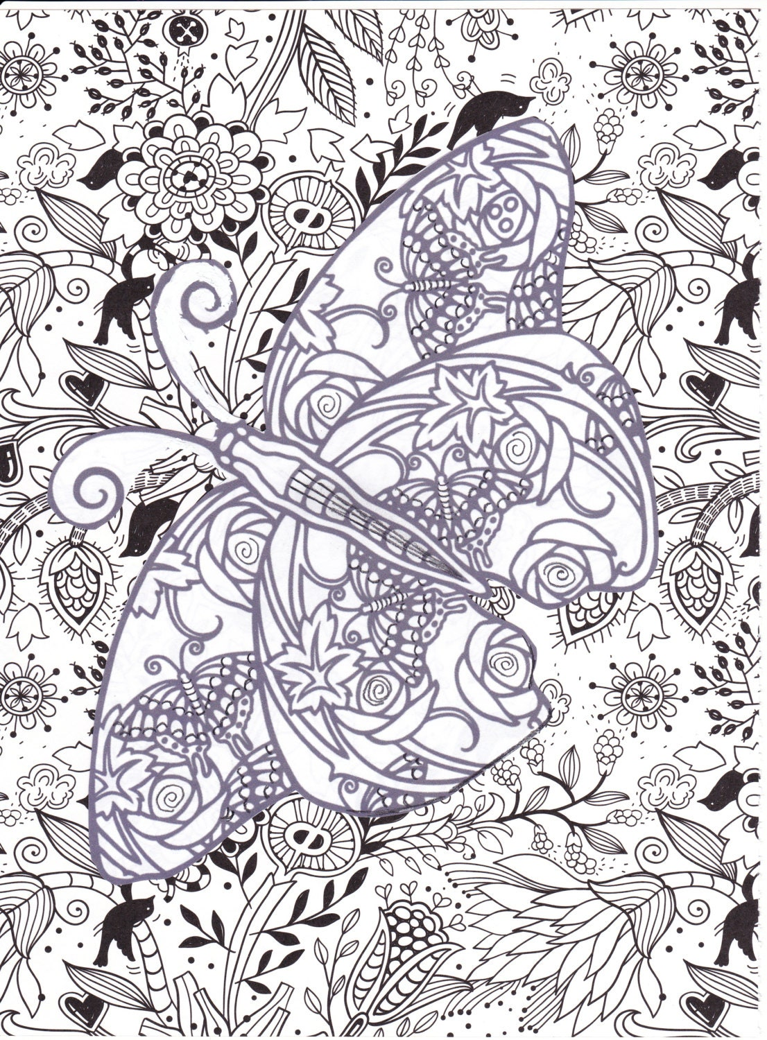 Adult / Advanced Coloring Page 8 X 10 Instant jpeg Download.