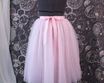 Pink Plus Size Tulle Skirt with Ribbon Waist and Ties - Tea Length Adult Tutu - Custom Size, Made to Order