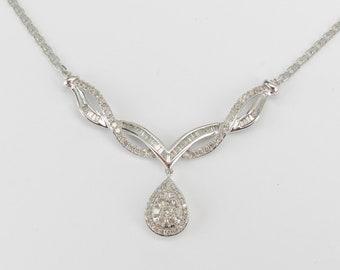 "Diamond Cluster Teardrop Necklace Pendant 18K White Gold Chain 17"" Wedding Gift"