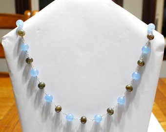Brazilian Aquamarine And Labradorite Sterling Silver Wire Wrap Necklace