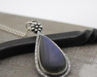 Sterling Silver Labradorite Necklace - Gift for her - Jewelry sale - boho - Labradorite Pendant
