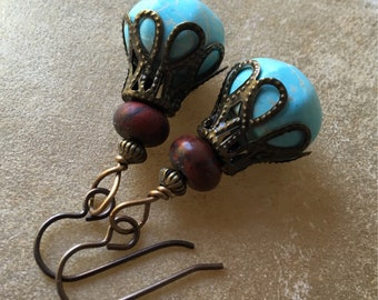 Turquoise and Red Jasper Boho Dangles