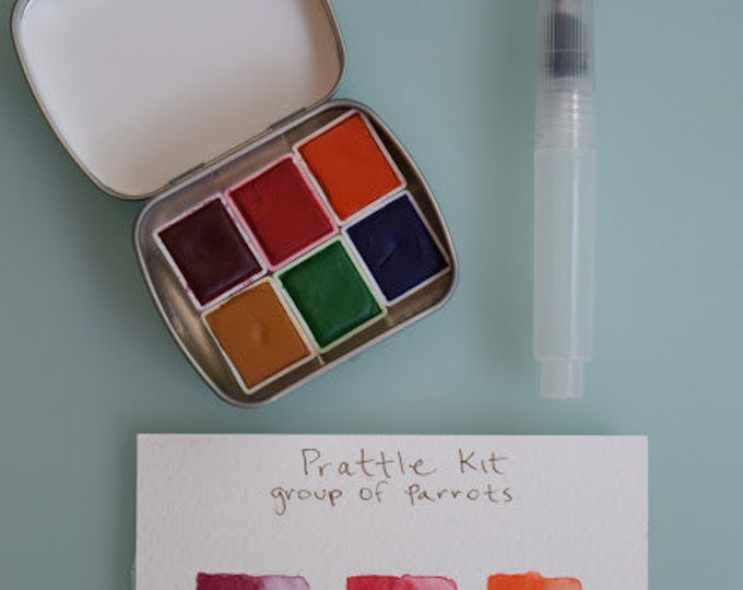 Watercolor handmade travel paint palette tin  Mini Tin PRATTLE set Includes - 6 half pans - Free Tin and Waterbrush included