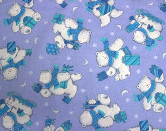 38 X 28 Turquoise Blue and White Polar Bear Print on Periwinkle Cotton Fabric Remnant