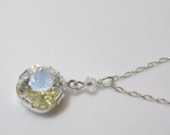 Swarovski Crystal Pendant, Swarovski Drop Necklace, Crystal Drop, Crystal Moonlight, Minimalist, Wedding, Bride, Solitaire, Sterling Silver