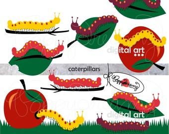 Caterpillars: Clip Art Pack (300 dpi transparent png) Digital Caterpillar Apple Digital Tree Leaf Garden Clipart