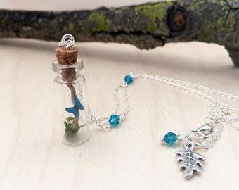 Butterfly Bottle Terrarium Necklace | Mini Blue Morpho Butterfly Forest Necklace | Cute Butterfly Necklace | Blue Butterfly Necklace