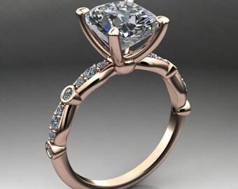 amelia ring - 2.8 carat elongated cushion cut ZAYA moissanite engagement ring