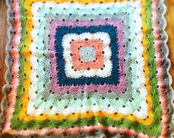 Bohemian Crochet Throw Blanket