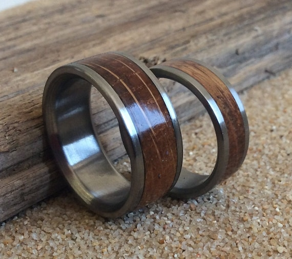 Titanium Rings Wood Rings Wedding Rings Charred Oak Whiskey