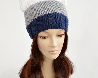 Cat Hat Knitting Pattern // Strip Hat Womens Knit Hat Pattern PDF Cat Hat Pattern Cat Ear Beanie Cat Ears Ear Hat Cat Beanie Bonnet Femme 69