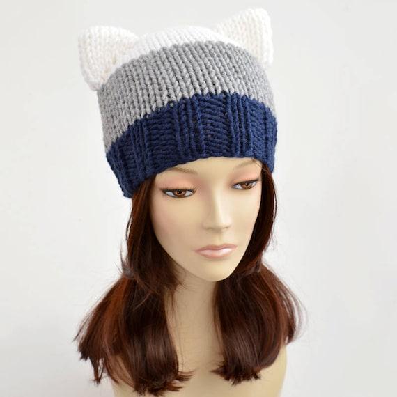 Cat Hat Knitting Pattern // Strip Hat Womens Knit Hat Pattern