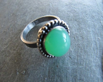 Chrysoprase Ring in Sterling Silver with Bead Wire Trim and Oxidized Finish
