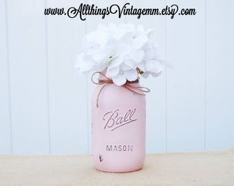 Painted quart size Mason jar, Mason jar centerpiece, Mason jar decor, Mason jar, farmhouse decor, rustic decor, pink Mason jar,