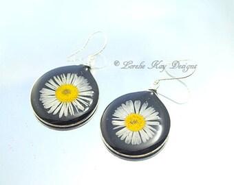 English Daisy Earrings Black  & Yellow Botanical Hoop Resin Sterling Earrings Lorelie Kay Original