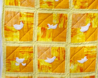 Duck Family Baby Quilt, Hand Appliqued, Hand Quilted