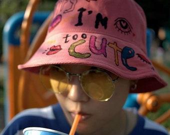 Originally Hand Painted Bucket Hat/ Art on Bucket Hat / Words Bucket Hat / Sorry I'm too cute