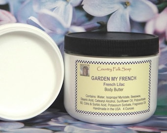 Lilac Body Butter, GARDEN MY FRENCH, Dry Skin Moisturizer, Natural Skin Care, Handmade Body Butter, Body Moisturizer, Scented Body Butter